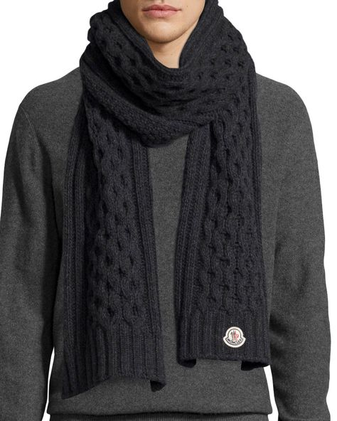 Moncler Men's Cable-Knit Cashmere Scarf, Gray | Mens knitted scarf .