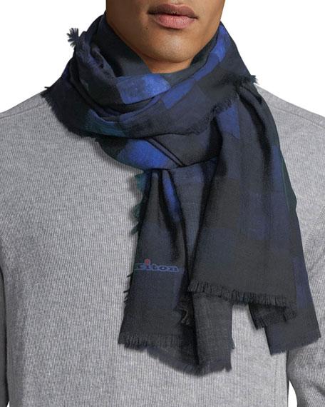 Kiton cashmere ombré-plaid scarf mens blue [ynH4SJao-XNf4RSn8 .