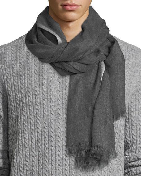 Brunello cucinelli cashmere-silk scarf mens smoke [LMF69N3S .