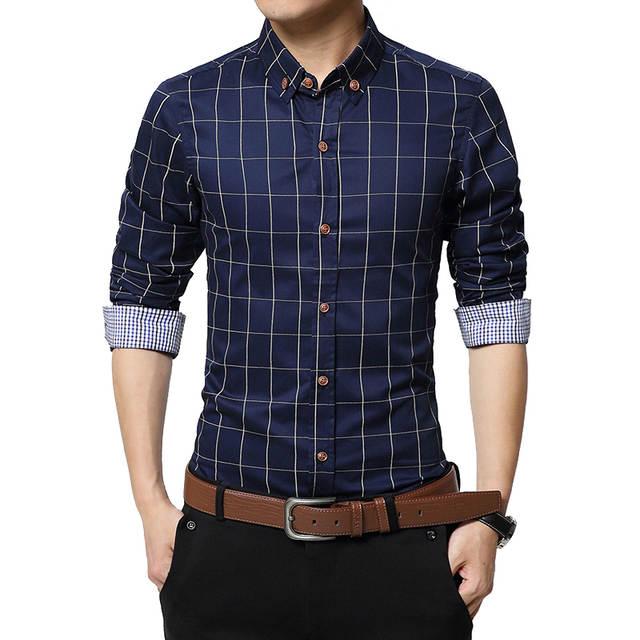 plaid mens shirts slim fit cotton 2020 mens dress shirts male .