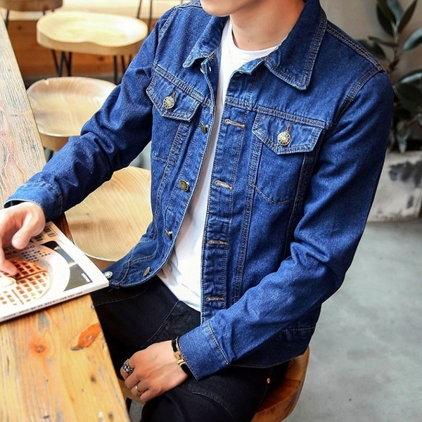 Spring Mens Denim Jacket Couple Motorcycle Jacket Trend Young .