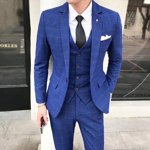 plaid men's suit 2018 autumn mens clothes fashion style dress slim .