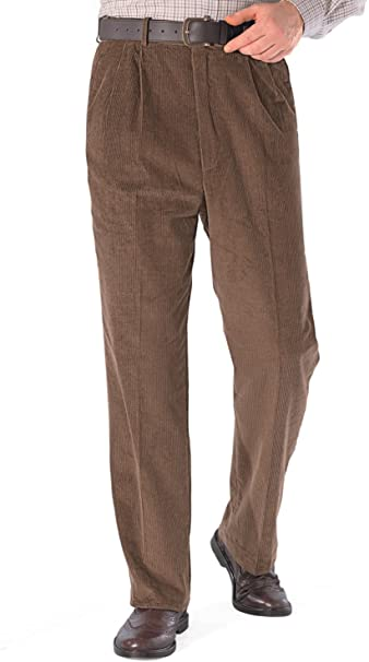 Mens Luxury Cotton HIGH-Rise Corduroy Adjustable Pleated Trouser .