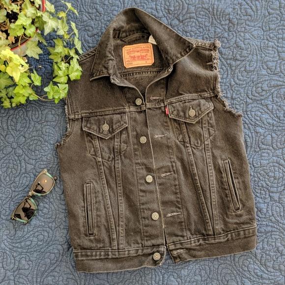 Levi's Jackets & Coats | Mens Vintage Levis Black Denim Vest .