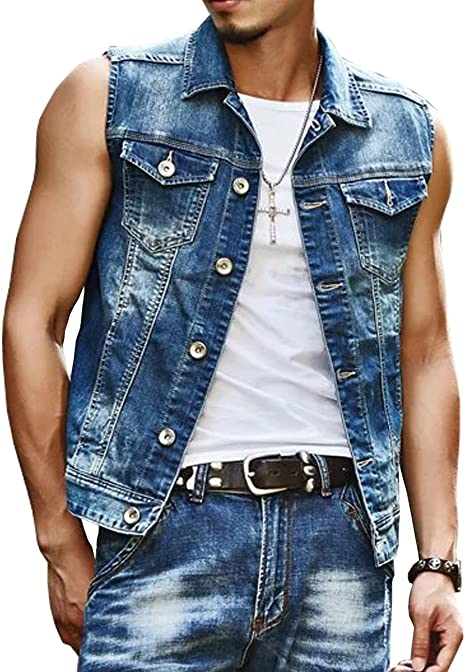 TR Mens Denim Vest Washed Old Jacket Sleeveless at Amazon Men's .