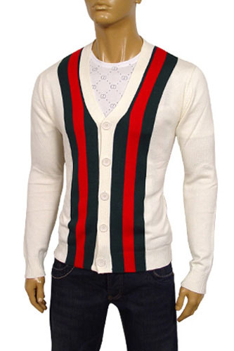 Mens Designer Clothes | GUCCI Mens V-Neck Button Up Sweater #