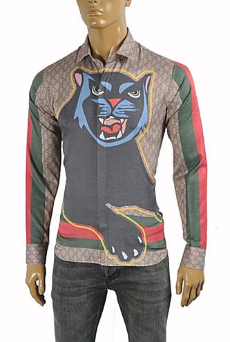 Mens Designer Clothes | GUCCI Men's Black Cat Shirt #3