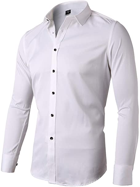 FLY HAWK Mens Dress Shirts, Slim Fit Long Sleeves Elastic Bamboo .