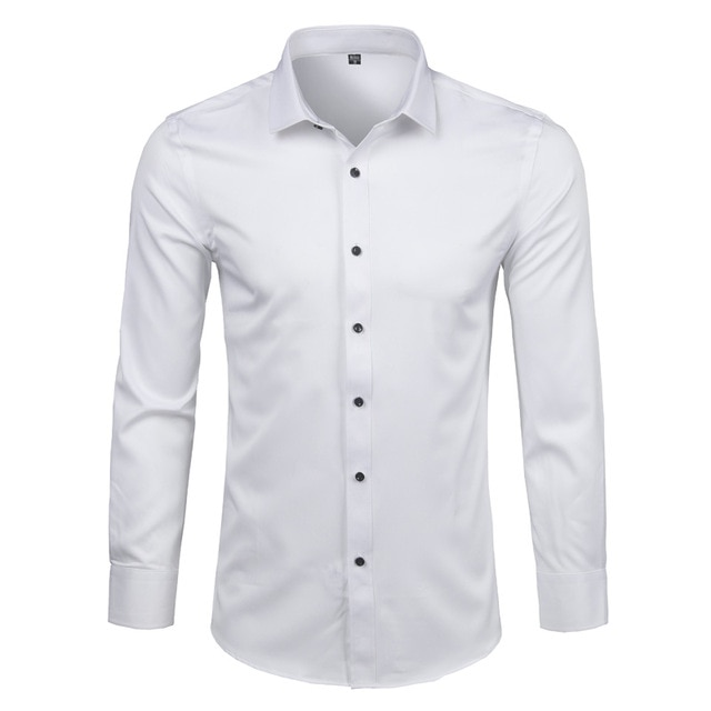 Pink Shirt Men 2018 Elastic Bamboo Fiber Mens Dress Shirts Casual .