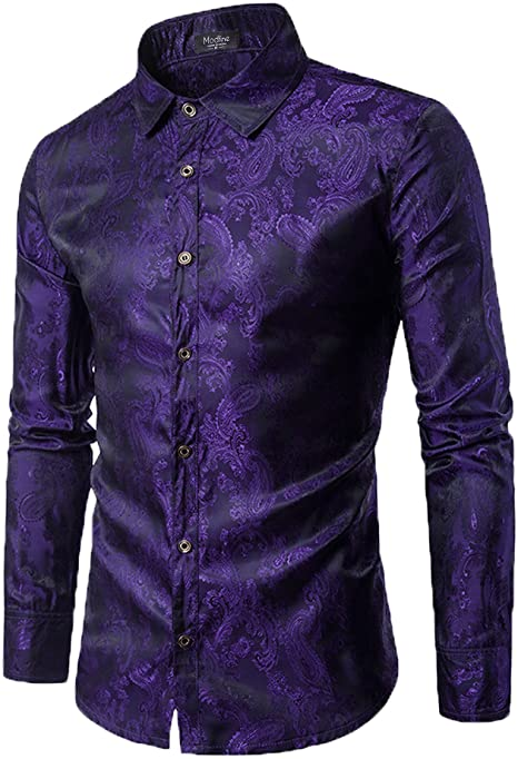 Modfine Men's Long Sleeve Printed Silk Dress Shirt Dance Prom .