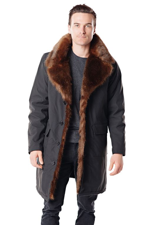 Men's Faux Fur-Trimmed Knee-Length Coat | Faux Fur Coa