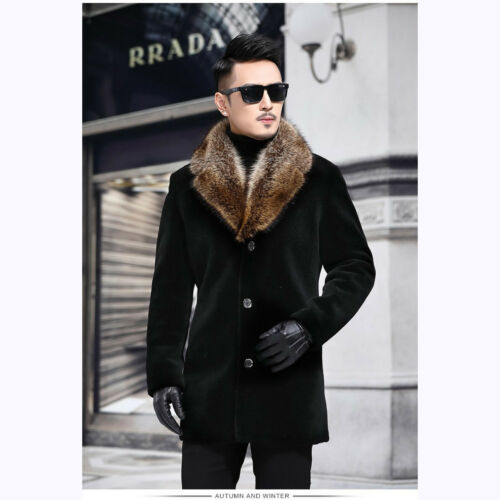 Men's Parka Faux fur Coat Trench Woolen Jacket Overcoat Outerwear .