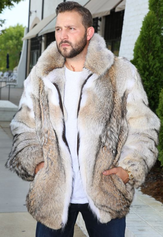 Custom Made Coyote Fur Jacket with Optional Hood | Fur jacket .