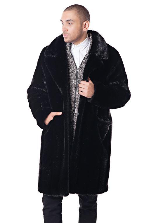 Men's Black Mink Faux Fur Knee-Length Coat | Faux Fur Coa