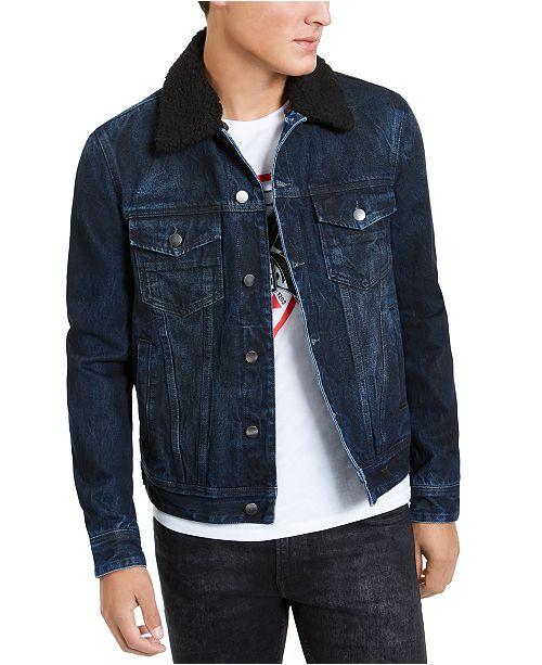 GUESS Men's Fleece Collar Denim Jacket & Reviews - Coats & Jackets .