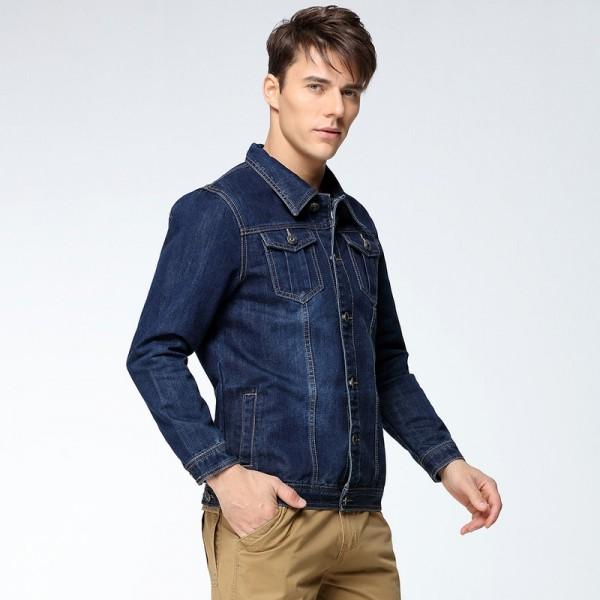 Buy Mens Denim Jacket Coat Single Breasted Loose Fit Wash Detail .