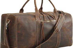 Amazon.com: Polare Mens Full Grain Leather Duffel Bag Overnight .