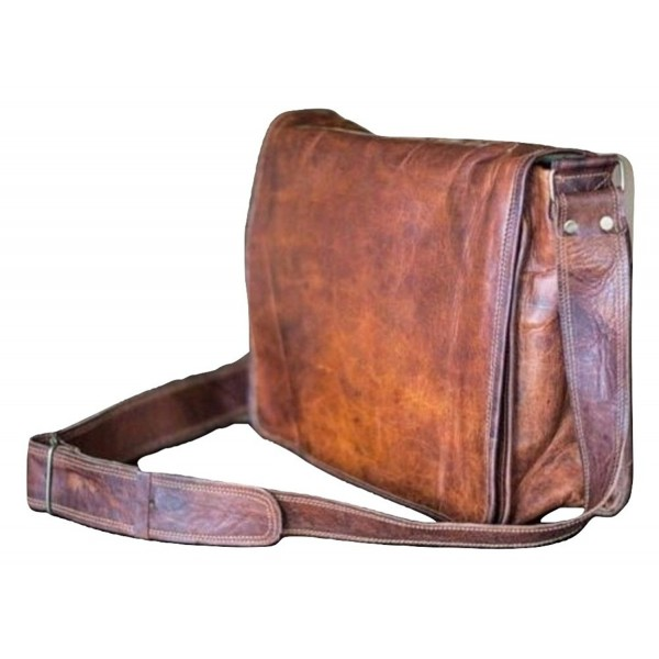 13 inch Mens Genuine Vintage Leather Canvas Full Flap Messenger .