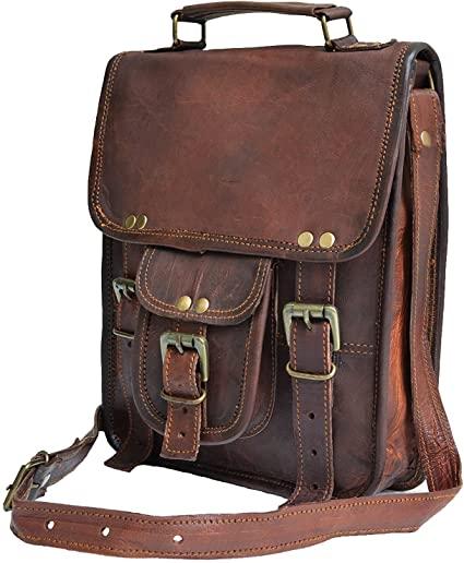 "Amazon.com: 11"" small Leather messenger bag shoulder bag cross ."