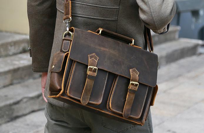 Senger Leather Bag — Hand Stitched Leather Messenger Bag, Mens .