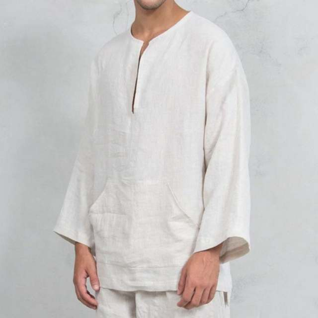Online Shop 2019 Autumn New Men's Loose Linen Shirts Male Solid .