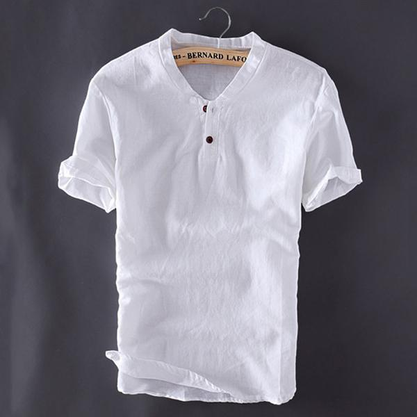 Mens Linen Shirts Short Sleeve Breathable 3 colors – mfrsty