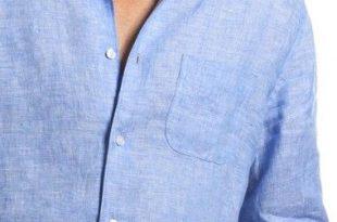 Classic blue linen shirt for men | Linen shirt men, Linen shirt .