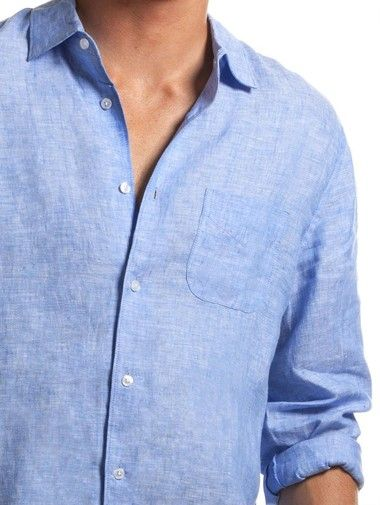 Classic blue linen shirt for men | Linen shirt men, Linen shirt .