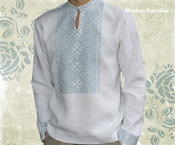 MEN LINEN SHIRT with Embroidery, 100 linen shirt, Long sleeve .