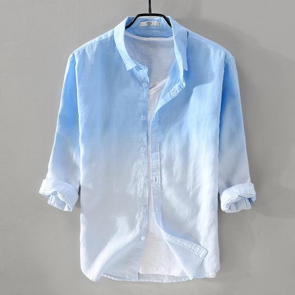New summer men's linen shirt men brand three-quarter sleeve shirt .