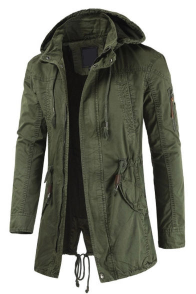 Mens Military Style Plain Long Sleeves Zip Up Hooded Jacket With .