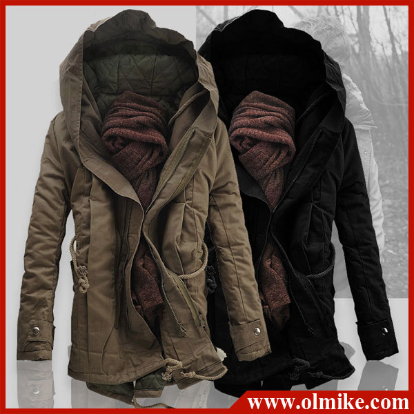 Promotion Fashion Men's military style Warm thicker Loose long .