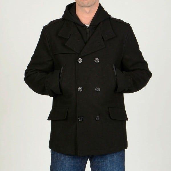 Shop Chaps Men's Black Wool-blend Hooded Peacoat - Overstock - 62907
