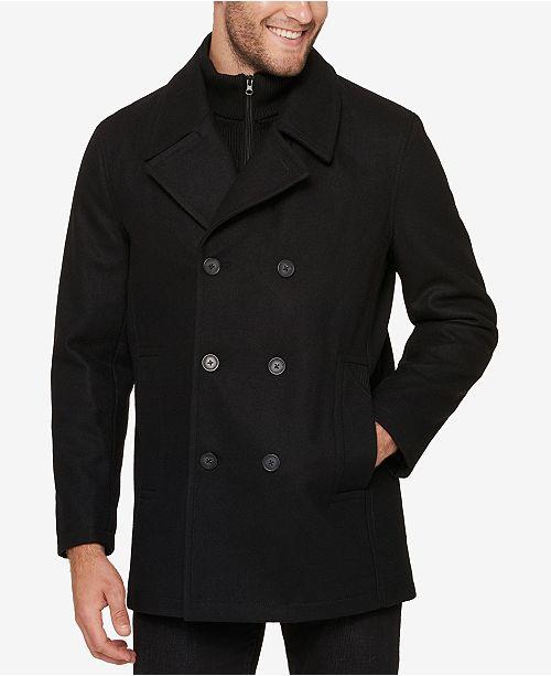 Marc New York Men's Pea Coat with Rib Knit Inset & Reviews - Coats .