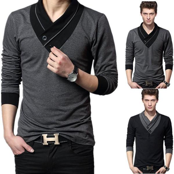 Trendy Men's Casual Slim Fit Long Sleeve T-shirt,V-Neck .