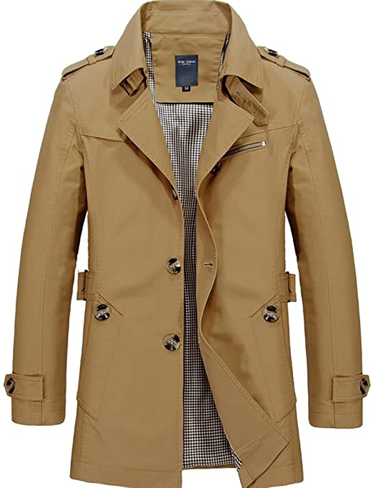 DUBUK Mens Trench Coat Single Breasted Lightweight Jacket Military .