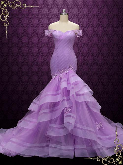 Purple Off Shoulder Mermaid Wedding Dress | Lil