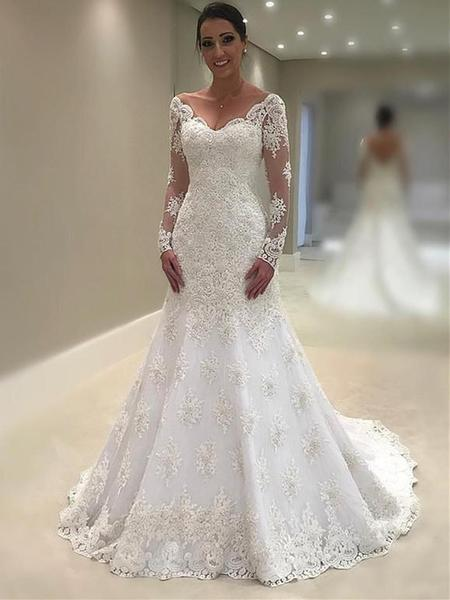 Elegant Lace V-neck Neckline Mermaid Wedding Dresses With .