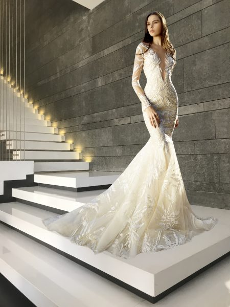 Long Sleeve Deep V-neck Embroidery Detailed Mermaid Wedding Dress .