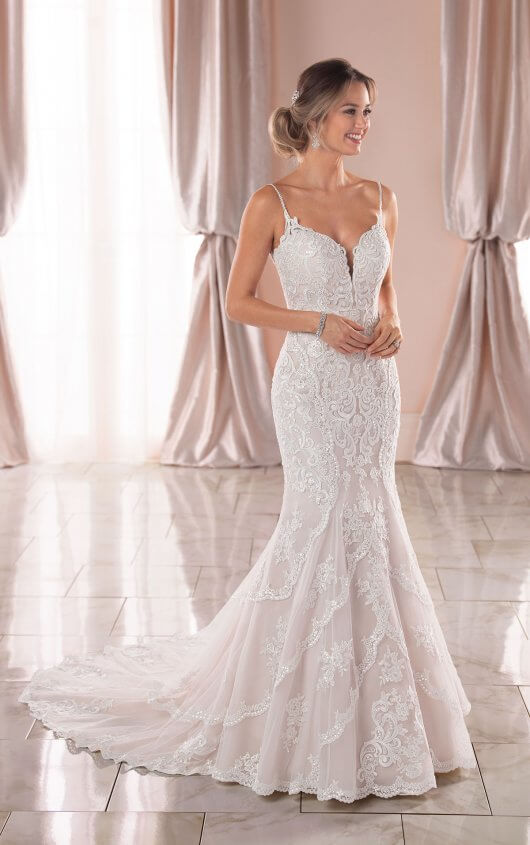 Graphic Lace Mermaid Wedding Dress with Open Back - Stella York .