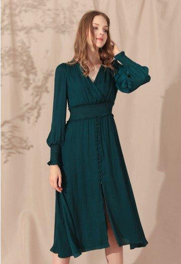 Satin Button Down Wrap Midi Dress in Dark Green - Retro, Indie and .
