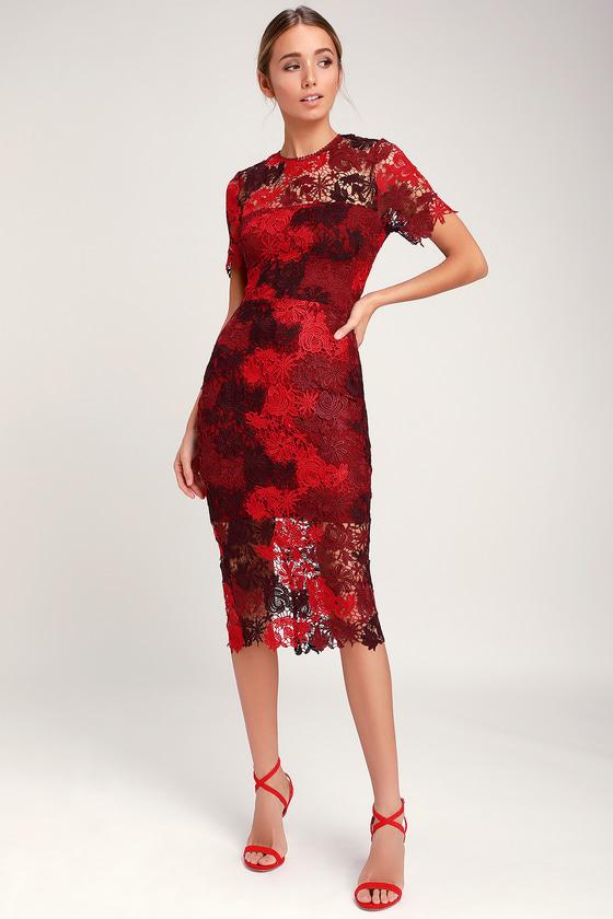 Chic Lace Dress - Red Lace Dress - Lace Midi Dress - Party Dre