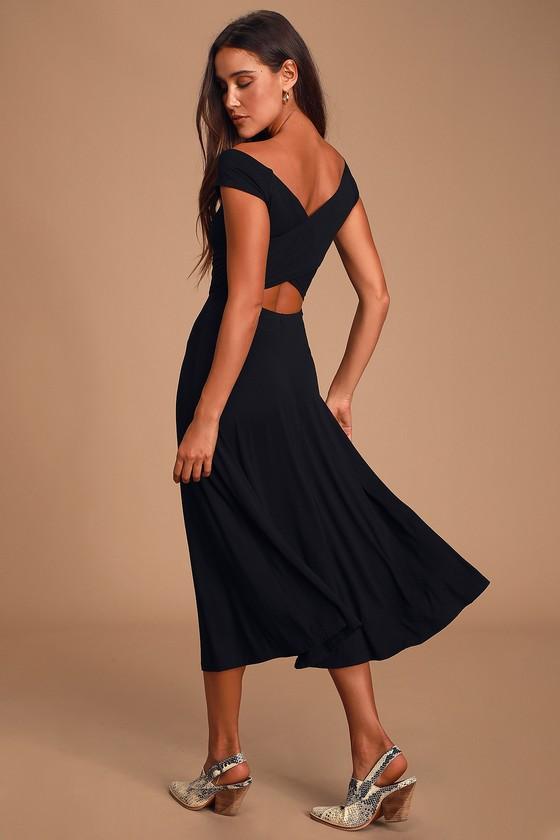 Chic Black Dress - Short Sleeve Dress - Midi Dress - $54.