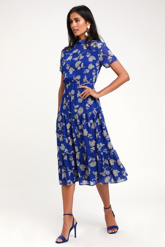 Royal Blue Floral Print Dress - Midi Dress - Short Sleeve Dre
