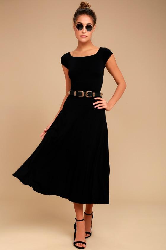 A La Mode Black Midi Dress | Cute black dress, Cute dress