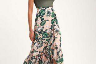 Cute Tropical Print Skirt - Blush Skirt - Pink Midi Ski