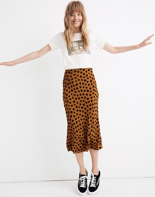Midi Slip Skirt in Painted Spo