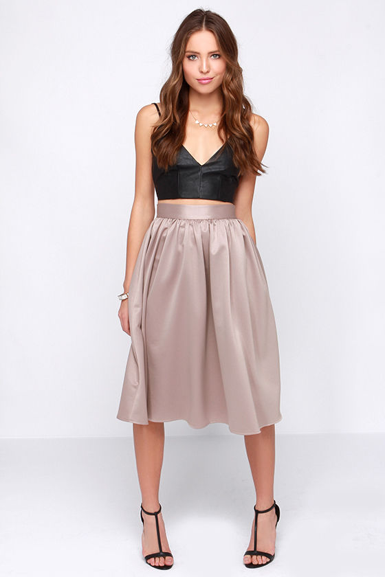 Pretty Midi Skirt - Taupe Skirt - High Waisted Skirt - $75.