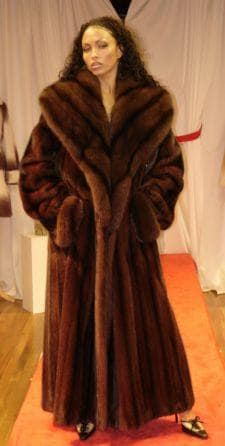 Fabulous Mahogany Mink Coat Matching Russian Sable Collar 995 .