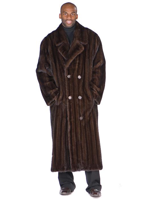 Mens Mahogany Mink Coat – Double Breasted Coat   Madison Avenue .